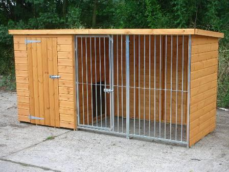 Galvanised dog kennel and run